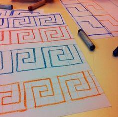 Vormtekeningen, klas 5, Hoofdfase A, eigen werk Form Drawing, Chalkboard Drawings, Geometric Drawing, Floor Art, Fifth Grade, Motor Activities, Upper Elementary, 5th Grades, Ancient Greece