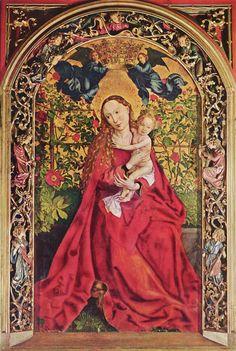 Martin Schongauer.  Maria im Rosenhag. 1473, Holz, 200 × 115 cm (beschnitten). Colmar, Münster Sankt Martin. Deutschland. Spätgotik.  KO 00844