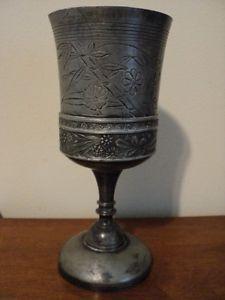 Antique Victorian Japanese Aesthetic pewter chalice / goblet Britannia circa1870
