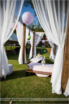 Outdoor drapery & lamp shades for summer solistice