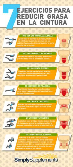 Ejercicios para reducir grasa en la cintura. Simply Supplements España. Infografía #ideassoneventos #gym #gimnasio #sport #girl #deporte #ejercicio #sientabien #superación #motivacion #health #fitness #fit #workout #cardio #training #photooftheday #healthy #instahealth #active #instagood #lifestyle #exercise #workouttime #run