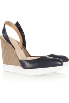 Yes please! Jil Sander | Leather and wood wedges | NET-A-PORTER.COM