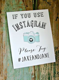 Instagram Sign- Printable Wedding, Personalized Wedding Sign, Diy Wedding, Print…