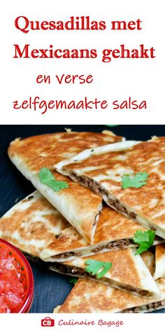I always fill my quesadillas with spicy Mexican minced meat and a hand grated . Mexican Food Recipes, Beef Recipes, Dinner Recipes, Healthy Recipes, Ethnic Recipes, Sandwiches, Chili, Quesadillas, Tortilla Wraps