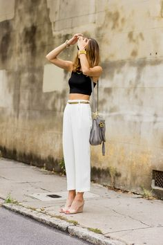 black crop / white cropped pants