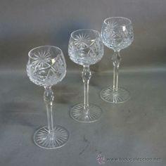 Tres copas de cristal talladas. Bohemia. 1930 - 1940. (BRD) (Antigüedades - Cristal y Vidrio - Extranjera - Bohemia Antigua)