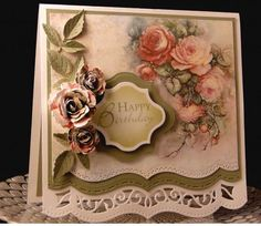 Birthday Card for Lynne by - Cards and Paper Crafts at Splitcoaststampers Z Cards, Paper Cards, Cool Cards, Stampin Up Cards, Greeting Cards, Happy Birthday, Birthday Cards, Shabby Chic Cards, Spellbinders Cards