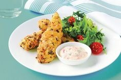 Low-fat chicken strips with sweet chilli yoghurt
