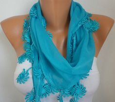 Blue Scarf   Cotton Scarf   Headband Necklace Cowl by fatwoman, $15.00