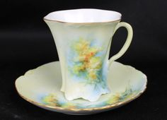 """Never thought of such a """"watercolour"""" design. I would probably add some golden dots :))) Antique Rosenthal Chocolate Cup Saucer Hand Painted Porcelain China Set"""
