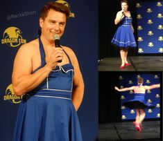 Stop everything! Here's John Barrowman in a Tardis dress and red heels! #DoctorWho