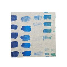 100% oat linen napkins (set of 6) hand screen printed with palette design in blue. Dimensions: 45cm x 45cm Care Instructions: Cold gentle machine or hand wash with gentle laundry liquid, line dry and iron on reverse while slightly damp. Please do not bleach, tumble dry or dry clean.