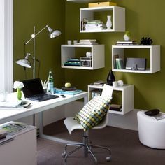 Home-Office storage idea-Floating shelves are both practical and stylish. Opt for bright white units to keep the scheme modern. Give yourself more desk space by investing in an adjustable floor lamp.