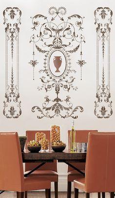 Wir sind stolz darauf, unsere 18-Jahrhundert Französisch Panel Serie wiederverwendbaren Wand Schablonen bieten! Die Versailles Side Panel Schablone Funktionen klassische Eleganz kombiniert mit ein erstaunliches Maß an Detail. Elegant geschwungene, Akanthusblättern und
