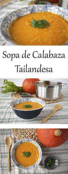 Receta para una crema de calabaza vegana con leche de coco y un toque de cilantro. Sopa de calabaza tailandesa.