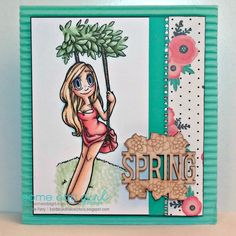 Swing Mae Digi Release from Some Odd Girl.  Card by Katie Perry. #someoddgirl #springcard #someoddgirlMae