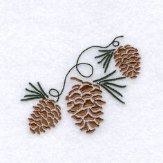 Plants Embroidery Design: Pine Cone Stencil from Starbird Inc Embroidery Shop, Types Of Embroidery, Machine Embroidery Patterns, Cross Stitch Embroidery, Modern Embroidery, Embroidery Leaf, Embroidery Sampler, Christmas Embroidery, Stencil Designs