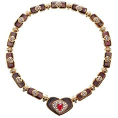 Preowned Harry Winston Black Mother Of Pearl Ruby Diamond Gold... (€31.775) ❤ liked on Polyvore featuring jewelry, necklaces, black, pendant necklace, diamond heart necklace, ruby heart necklace, diamond heart pendant and gold heart pendant