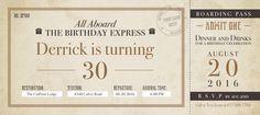 Train Ticket Birthday Invitation | CatPrint Design #1058