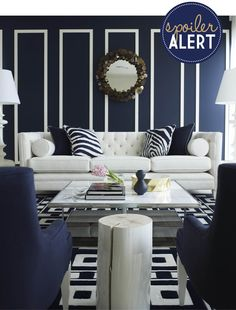 Navy walls with white painted trim