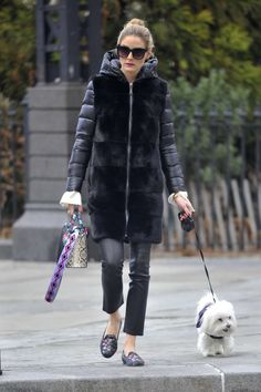 Olivia Palermo with her dog Mr. Butler in Brooklyn The Olivia Palermo Lookbook