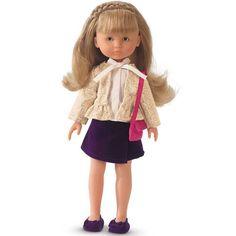 Hou je van poppen, maar ook al van mode en mooie kleren? Dan is deze prachtige pop Camille van Corolle zeker iets voor jou! De pop is gemaakt van een aangenaam voelend vinyl dat lekker naar vanille ruikt. De oogjes gaan dicht als je Camille neer legt en de pop heeft lange blonde haren met een kunstig ingevlochten vlecht.Camille draagt een ecru hemdje met een glinsterend feestjasje en een paars fluwelen rokje en schoentjes. Een roze feesttasje draagt ze over de schouder.De kleertjes ...