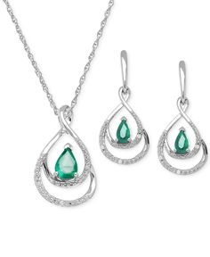 Emerald (7/8 ct. t.w.) and Diamond Accent Jewelry Set in Sterling Silver