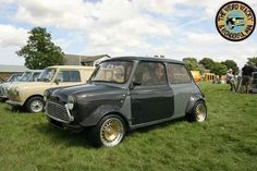 Wicked Wide Arched Wednesday Mini,  also heavily modified and lightened with Carbon Fibre replacement body panels. Awesome Mini!