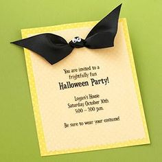 Halloween party invitation - simple diy:print your invitation, cut & layer on yellow or orange card stock; punch 2 holes near top, tie with black ribbon; trim ends to mimic bat wings; glue on small wiggly eyes - so easy!