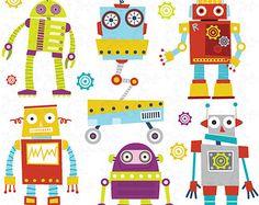 Clipart Pack robots party de « ROBOTS mignon » digital images clipart, mignon Robots, Robots, Robot Funny parfait pour le scrapbooking, cartes d