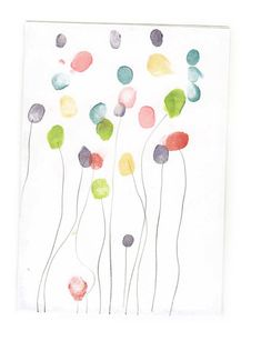 Fingerprint balloons -- fun kids art idea for birthday party invitations or group birthday art activity!