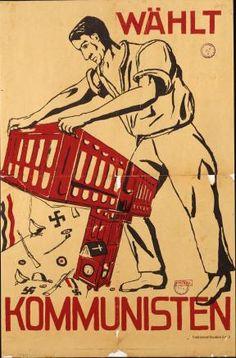 """Szenen der Ausstellung """"Zerstörte Vielfalt"""" im Deutschen  Historischen Museum: Wahlplakat der KPD zur Stadtverordnetenwahl.Berlin 1933"""
