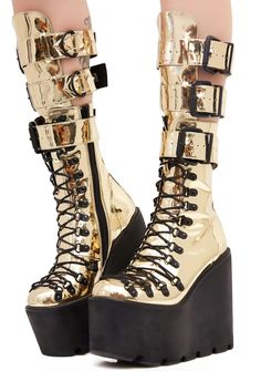 Current Mood Gilded Guardian Boots cuz yer still standin' no matter what comes at ya, bb. These sikk metallic platform boots have lace-ups N' buckles and side zip closures so yer always battle-ready.
