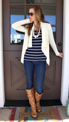 cute striped top and cardigan with skinny jeans and boots