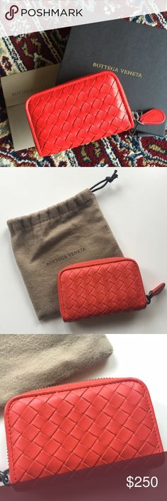 Bottega Veneta Red Coin Purse Basket weave Bottega Veneta red coin purse. Colour is Vesuvio. Purchased a year ago on BV online, very gently (rarely) used (the style didn't work for me). Super soft lamb skin leather with brown leather interior. Excellent condition with no damage except colour transfer on gusset sides (pictured) from the zipper but can be cleaned. Includes dust bag, box, original invoice, all papers that came with it. Will be boxed as pictured. NO TRADES Bottega Veneta Bags…