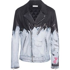 FAITH CONNEXION Tag Leather Jacket // Hand painted leather jacket ($2,590) ❤ liked on Polyvore featuring men's fashion, men's clothing, men's outerwear, men's jackets, mens short jacket, mens zip up jackets, mens leather biker jacket, mens leather jackets and mens padded leather jacket