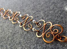 Primavera bacelet Coppe shapping combinato cristalli austriaci - rame gioielli - jewelry wire