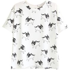 Choies White Cute Dog Print Short Sleeve T-shirt (155 SEK) ❤ liked on Polyvore featuring tops, t-shirts, white, white t shirt, dog tees, white top, short sleeve tee and short sleeve t shirts