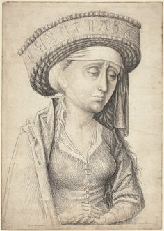 """Swabian 15th Century. A Sibyl, c. 1470. Pen and black and gray ink with gray wash on laid paper, Woodner Collection, Gift of Andrea Woodner, 2006.11. As published by the National Gallery of Art, Washington. This Swabian headwear is very similar to the """"cheesemould hat"""" mentioned in contemporary literature describing a type of Irish headwear in the 16th-17th centuries."""