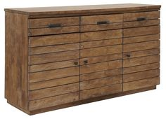 With its three drawers and three cabinets beneath, and just shy of five feet wide, this slatted wood chest offers a wealth of always-needed storage space.