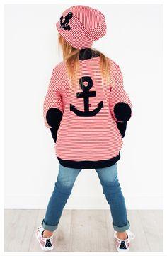 Pullover & Sweatshirts für Kinder: maritime Jerseyjacke mit Anker Motiv / children's sweater with anchor print, red and white striped sweatshirt made by dragonfly Designs via DaWanda.com