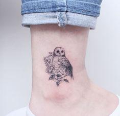 Owl with Peony tattoo © tattooist_greem ❤ ❤ ❤