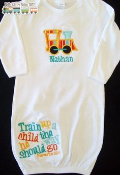 Babyboylayettegownfootballwithpersonalizedbymamabijou make your gifts special train up a child the way he should go newborn boy layette gown coming home outfit personalized negle Gallery