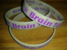 Raise awareness for brain tumor with customized wristbands printed with inspirational message and logo. Brain Tumor, Wishes Messages, Inspirational Message, Cancer, Logo, Printed, How To Make, Logos, Logo Type
