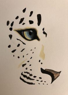 Watercolour painting of leopard - Leopard Big Cats Art, Cat Art, Art Drawings Sketches, Animal Drawings, Snow Leopard Drawing, Animal Stencil, Tiger Art, Painting & Drawing, Watercolor Paintings