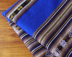 South American Fabric, Aguayo, Woven Textile, Dark Blue Stripes