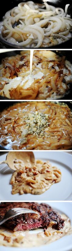 Grilled Steak with Onion-Blue Cheese Sauce