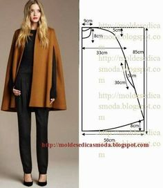 Cape pattern and sewing: 10 thousand images found in Yandex. Coat Patterns, Clothing Patterns, Dress Patterns, Sewing Patterns, Poncho Pattern Sewing, Diy Clothing, Sewing Clothes, Fashion Sewing, Diy Fashion
