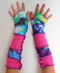 Recycled Fingerless Gloves Tie Dye