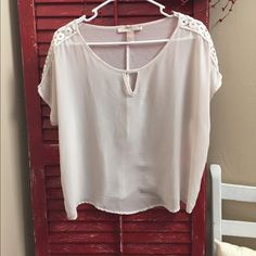 PRICE DROP! Sheer top Cute sheer top with crocheted strips across the shoulders. Forever 21 Tops Blouses